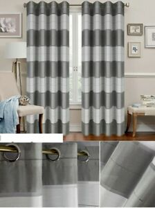 SALE!!! PAIR READY MADE CURTAINS STRIPED GREY / WHITE VOILE EYELET RING