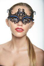 Elegant Black Blue Rhinestone Venetian Laser Cut Masquerade Mask BD003BLBK Prom