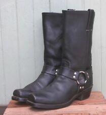 Frye USA Black Leather Men's Motorcycle Boots Horsebit Ankle Strap Size 9.5M