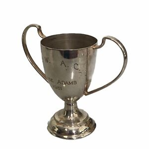 Sterling Silver Small Fishing Trophy Loving Cup 2.75 Inch 1.2 oz Engraved