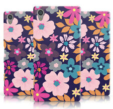 DYEFOR NAVY AND NEON PAINTED PINK BLUE FLOWERS PHONE CASE COVER FOR SONY XPERIA