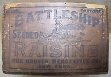 Antique BATTLESHIP RAISINS Wooden Crate Box fabulous design Hooven Merch Co NY