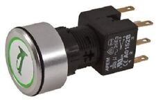 Apem ILLUMINATED PUSH BUTTON SWITCH 6A Momentary DPDT, 24V LED Horn GREEN