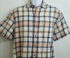 Tommy Bahama Jeans Island Crafted Short Sleeve button up size Medium Plaid