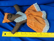 "Cloth Doll 12"" Tall Vtg Polkadot Dress Folk Art Antique-Vtg"