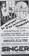 PUBLICITE SINGER MACHINE A COUDRE ELECTRIQUE DE 1930 FRENCH AD PUB ART DECO