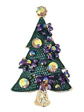 Gold Tone Sparkle Crystal Christmas Tree Brooch