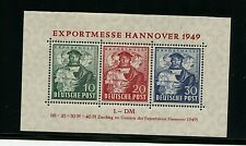Germany #664a S/S of 3 (Ge285) Hanover Export Fair 1949, Mnh, Vf, Cv$105.00
