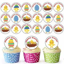 30 Pre-Cut Happy Easter Chicks & Eggs Mix  Edible Cupcake Toppers Decorations