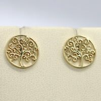 18K YELLOW GOLD EARRINGS WITH BEAUTIFUL WORKED TREE OF LIFE, MADE IN ITALY