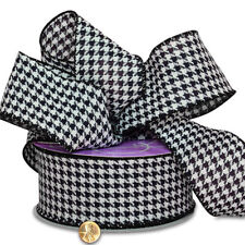 2 1/2 INCH BLACK & WHITE HOUNDSTOOTH GROSGRAIN CHECK WIRED RIBBON,  5 YARDS
