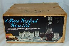 Anchor Hocking WEXFORD CRYSTAL* 8 pc WINE SET W/BOX* DECANTER & 6 WINE GOBLETS*
