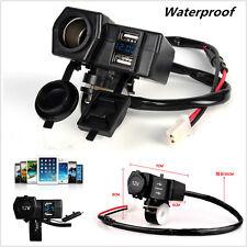 12V/24V Waterproof Motorcycle Dual USB Charger Power Socket Blue LED Voltmeter