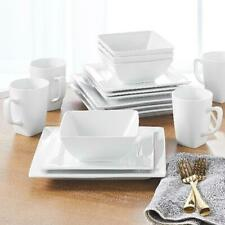 Porcelain Dinnerware Set 16-Piece Square White Dinner Plates Dishes Stoneware