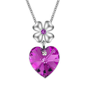 Fashion Silver Heart Charm Violet Crystal Cubic Zirconia Pendant Necklace Gift