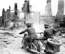 "Nazi motorcyclists pass through ruins in France 8""x 10"" World War II Photo #215"