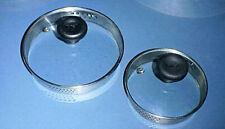 "(2) T-FAL Glass Lids with Vent, Black Handle, Strainer Rim for 7"" &  5 3/8"" Pans"