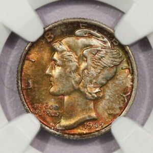 1942-S 1942 Mercury Dime NGC MS66 Beautiful color Handsomely toned