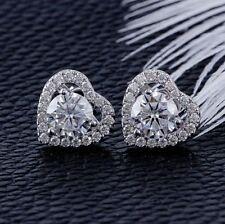 2.20Ct Round Cut Diamond Heart Shape Halo Stud Earring 14K White Gold Finish