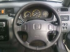 FITS HONDA CIVIC 1992-2005 REAL BLACK ITALIAN LEATHER STEERING WHEEL COVER NEW