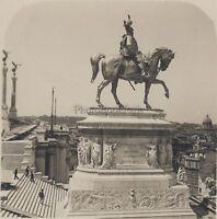 Roma Statua Di Victor-Emmanuel Italia Stereo Vintage Analogica Ca 1920