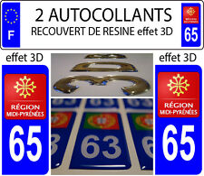 2 stickers plaque immatriculation auto TUNING DOMING RESINE MIDI PYRENEES DEP 65