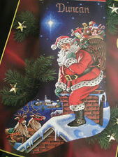 """Christmas Dimensions GOLD Collection Counted Stocking KIT,ROOFTOP SANTA,8528,16"""""""