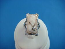 14K WHITE GOLD ANTIQUE CAMEO RING WITH DIAMOND 4.1 GRAMS SIZE 4 1/2 21 MM LONG