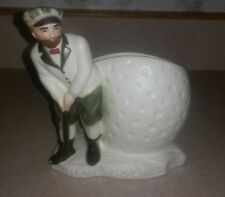 VTG National Potteries Golfer Golf Ball White Planter Pencil Holder Japan
