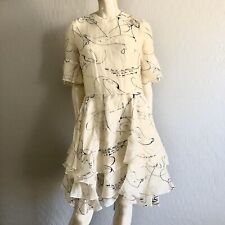 H&M Conscious Exclusive 2017 women size 12 White Abstract Print Ruffle Dress NWT