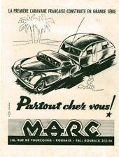 Publicité ancienne caravane française Marc 1949 issue de magazine