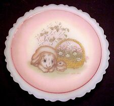 Fenton Glass Mother's Watchful Eye Plate Mother's Day 1991 Bunny Rabbit & Baby
