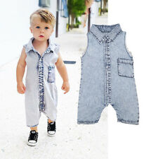 Denim Infant Baby Vest Bodysuit Romper Infant Boy Girl Jumpsuit Clothes Outfits