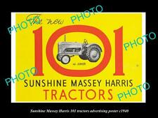 OLD HISTORIC PHOTO OF SUNSHINE HARVESTER MASSEY HARRIS 101 TRACTOR POSTER c1940