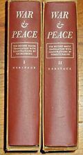 WAR & PEACE BY LEO TOLSTOY~2 VOL. HERITAGE PRESS SET W/SANDGLASS INSERT (1938)