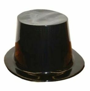 TOP HAT BLACK PLASTIC COSTUME PARTY FANCY DRESS HORROR HALLOWEEN MAGIC