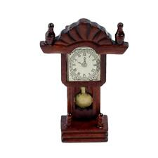 Miniature Wooden Classical Desk Clock for 1:12 Scale Dollhouse Furniture Parts