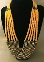 """Vintage 1940s South Western Butterscotch Beaded Lucite Necklace  113.8gr - 23"""""""
