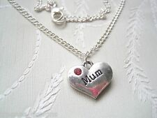 *MUM LOVE HEART* Pink Rhinestone Necklace SP 18 INCH chain Mothers Day GIFT Bag