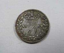 Great Britain Early Queen Victoria Silver 3 Pence 1861 VERY SCARCE NICE