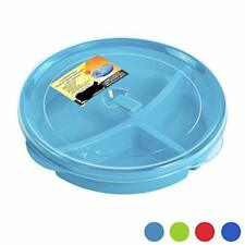 Set of 3 Microwave Food Storage Tray Containers - Divided Plates w/Vent Lid
