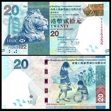 HongKong Hong Kong 20 Dollars, HSBC, 2014, P-212, UNC