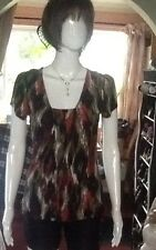 Geometric Patterned Top In Green Brown And Orange From Marks And Spencer Size 12