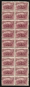 "US # 231 *MINT OG NH* { BLOCK OF 18 WITH 6 ""BROKEN HAT VAR"" } ""RARE CV$ 1530.00+"