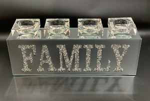 SPARKLY BLING CRUSHED DIAMOND CRYSTAL FILLED 'FAMILY' TEA LIGHT CANDLE HOLDER✨