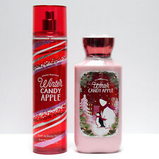 2pc Set Bath and Body Works WINTER CANDY APPLE Fine Fragrance Mist Body Lotion