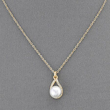 Gold Simple Chain Pearl Small Clear Stone Pendant Elegant Necklace