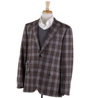 NWT $3995 OXXFORD 'Randolph' Brown-Blue Check Wool-Cashmere Sport Coat 40 R
