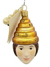 Patricia Breen Beeskep Do Glittered Face Spring Bee Lady Holiday Tree Ornament