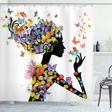 Girl Fashion Flowers Butterflies Floral Foliage Nature Forest Shower Curtain Set